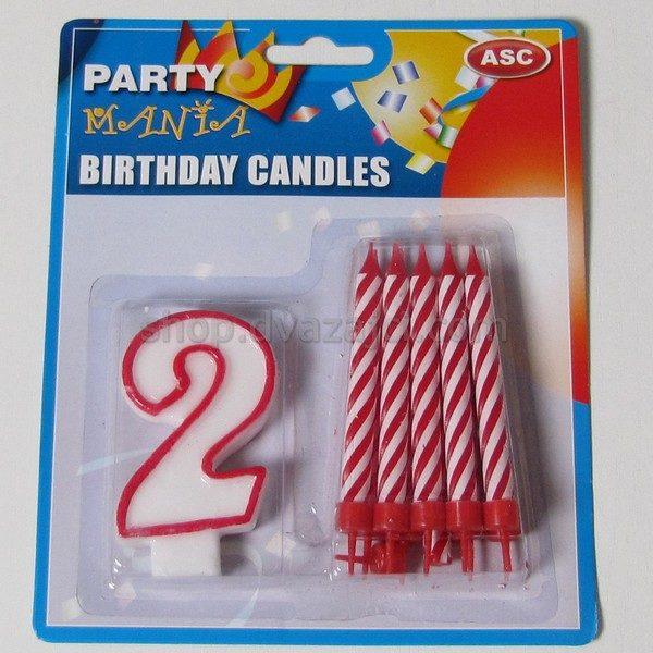 Набор свечей свеча-цифра 2 + 10 свечей