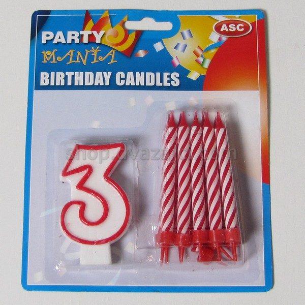 Набор свечей свеча-цифра 3 + 10 свечей