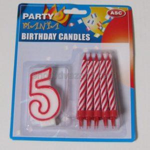 Набор свечей свеча-цифра 5 + 10 свечей