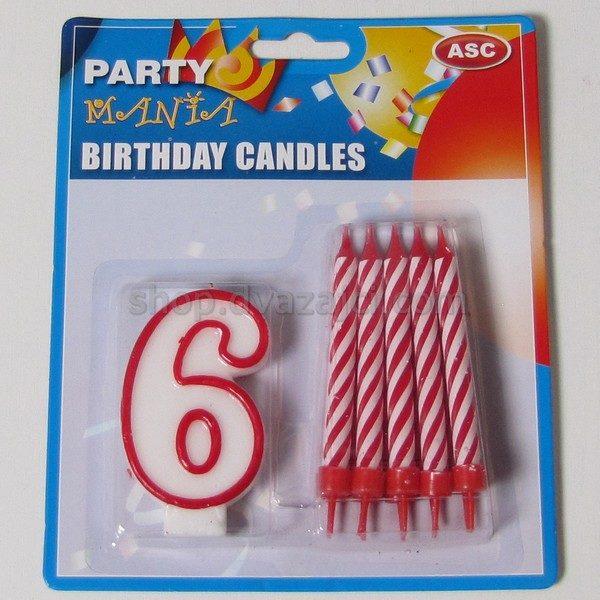 Набор свечей свеча-цифра 6 + 10 свечей