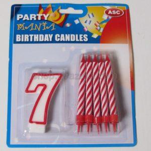 Набор свечей свеча-цифра 7 + 10 свечей