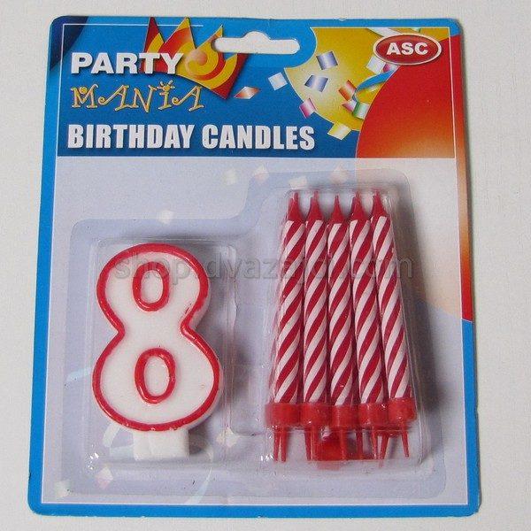 Набор свечей свеча-цифра 8 + 10 свечей