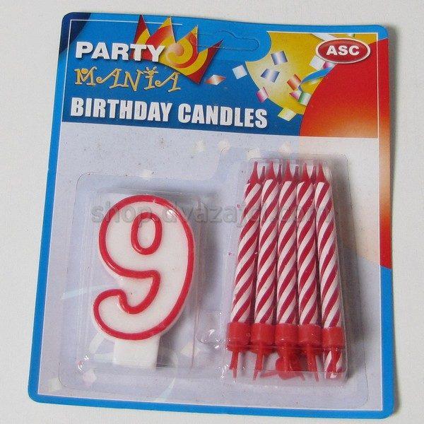 Набор свечей свеча-цифра 9 + 10 свечей