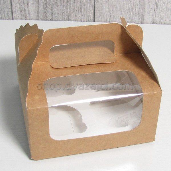Коробка для кексов (на 4 шт) с окошком 170х170х85 крафт