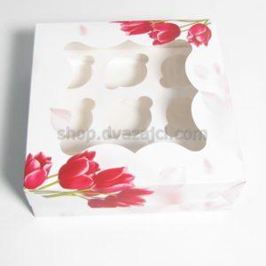 Коробка для кексов на 9 шт с окном 250х250х90 принт Тюльпан