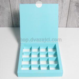 Коробка для конфет (на 16 штук) 185х185х30 бирюза