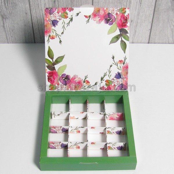 Коробка для конфет (на 16 штук) 185х185х30 принт Акварельные цветы