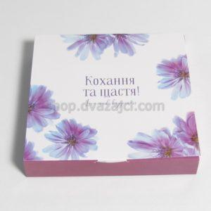 Коробка для конфет (на 16 штук) 185х185х30 принт Васильки