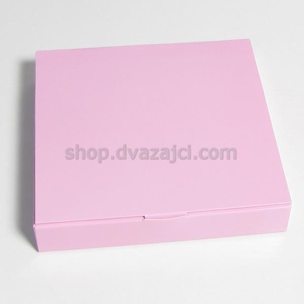Коробка для конфет (на 16 штук) 185х185х30 розовая