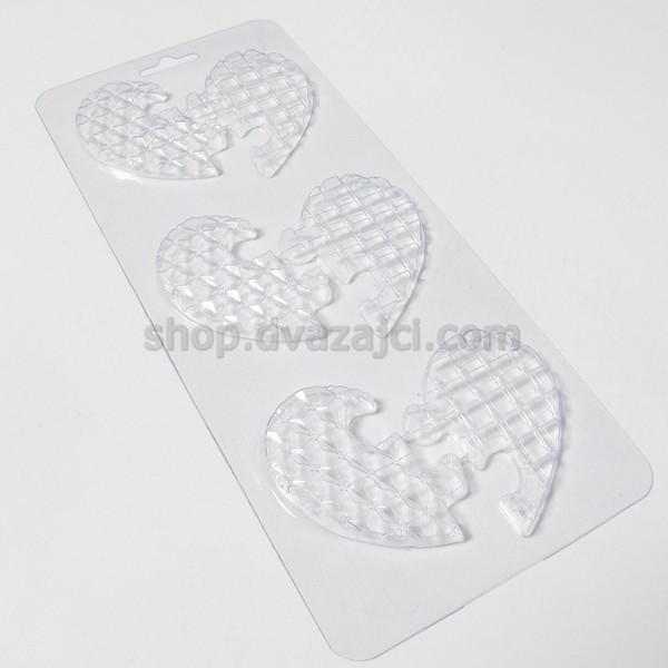 Пластиковая форма Сердце половинки