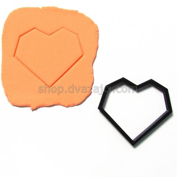 Форма для печенья Сердце геометрия 8см