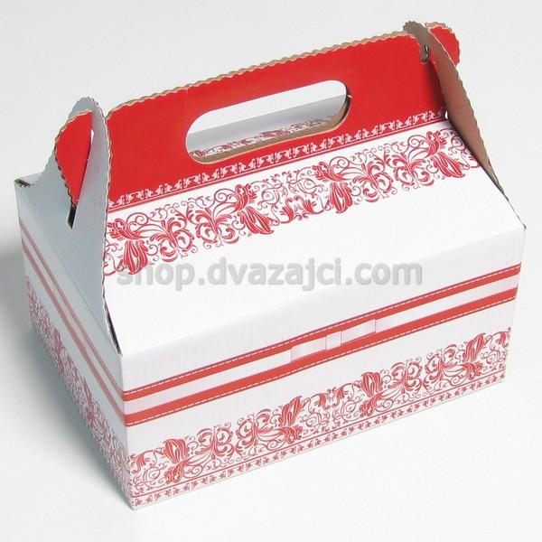 Коробка для пляцок 190х130х90 с ручкой #1