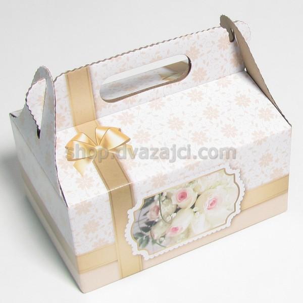 Коробка для пляцок 190х130х90 с ручкой #5