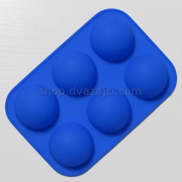 Форма силиконовая Полусфера 5см 6шт