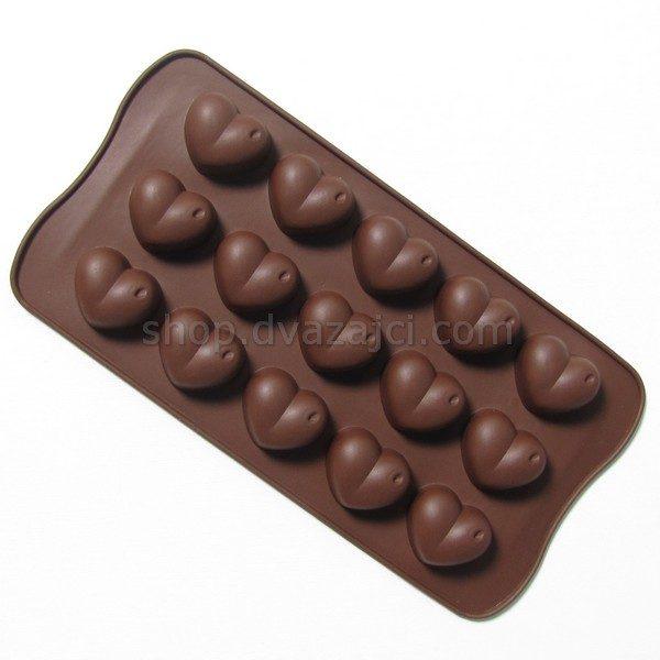 Форма силиконовая для конфет сердце 15 шт