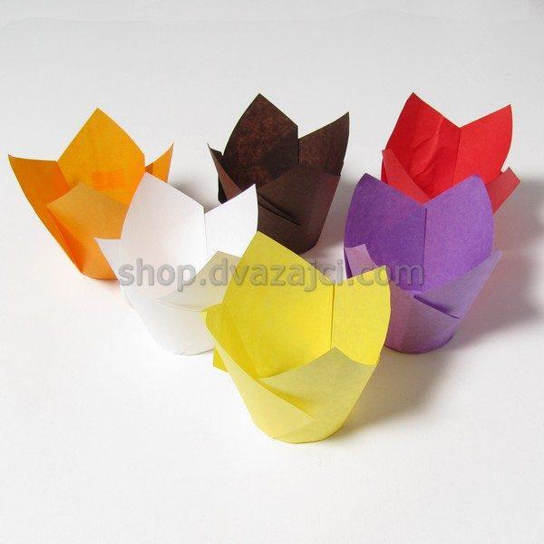 Бумажный стаканчик для кекса Тюльпан