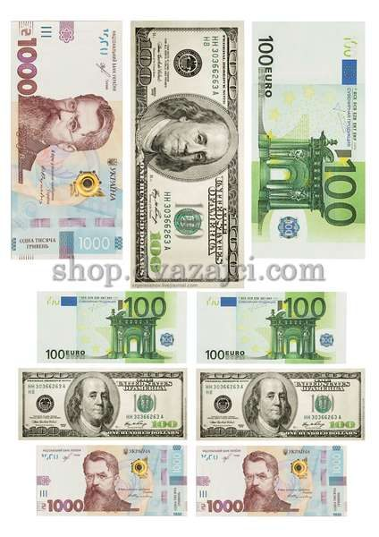 Деньги вафельная картинка А4