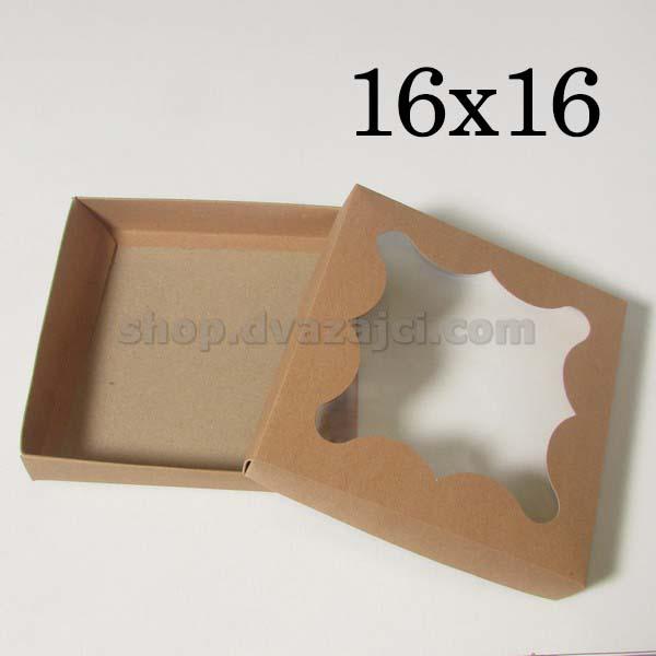 Коробка для пряников 16х16х3 см бурая