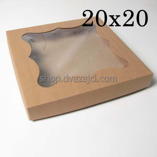 Коробка для пряников 20х20х3 см бурая