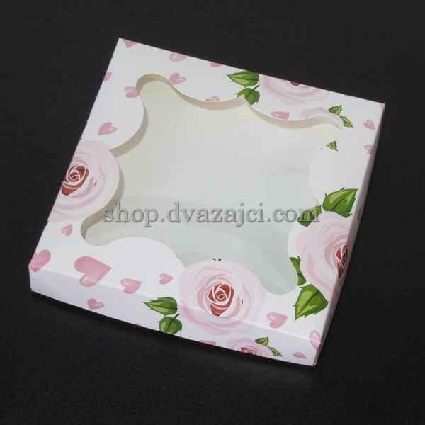 коробка картонная с принтом роза