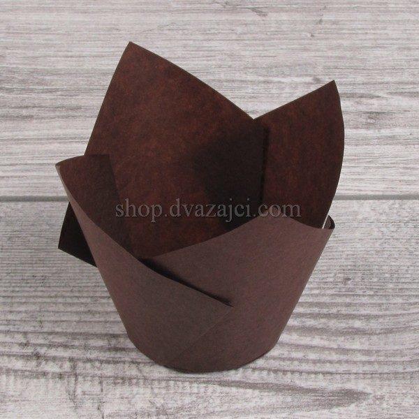 умажный стаканчик для кекса Тюльпан 50 коричневый