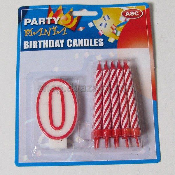 Набор свеча-цифра 0 + 10 свечей