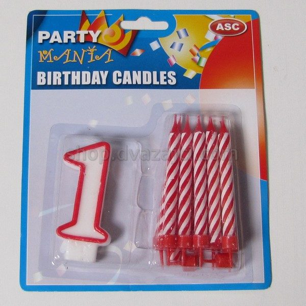 Набор свечей свеча-цифра 1 + 10 свечей