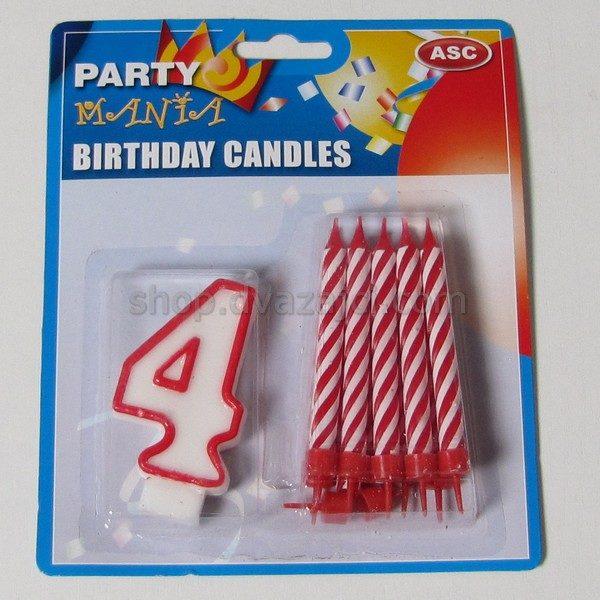 Набор свечей свеча-цифра 4 + 10 свечей