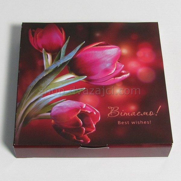 Коробка для конфет (на 16 штук) 185х185х30 принт Тюльпаны