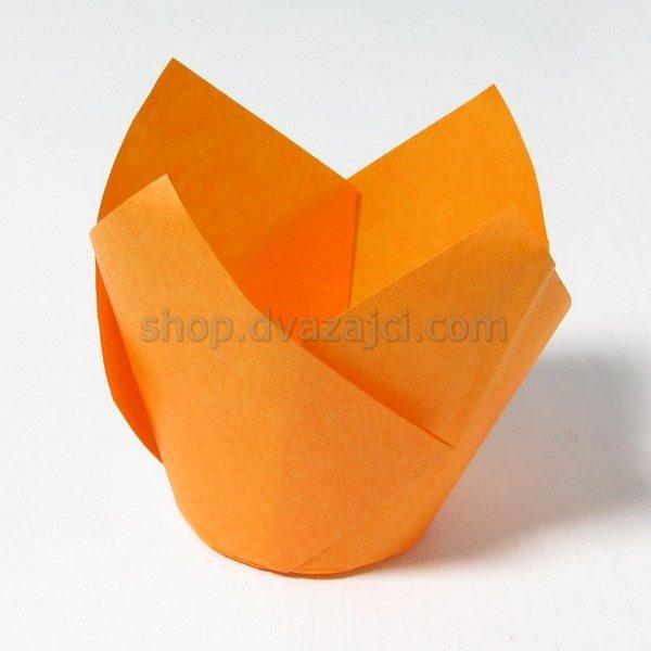 Бумажный стаканчик для кекса Тюльпан 50 оранжевый 25 штук
