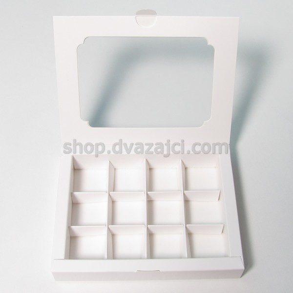 Коробка для конфет с окном на 12 штук 153х200х30