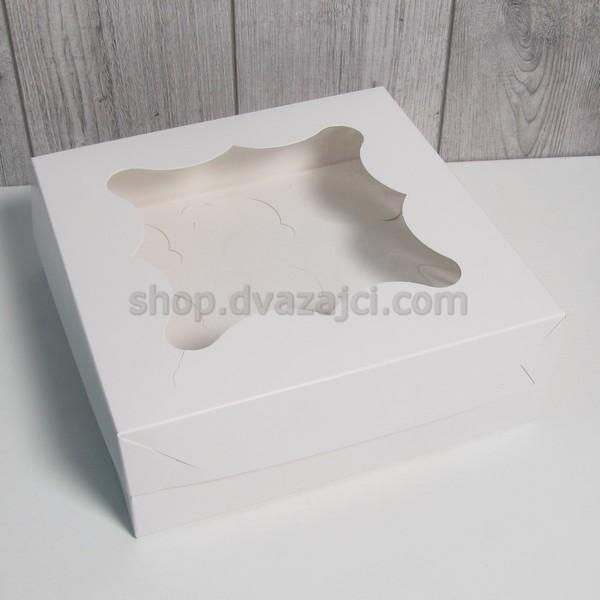 Коробка для кексоа на 9 шт с окном 250Х250Х90 белая