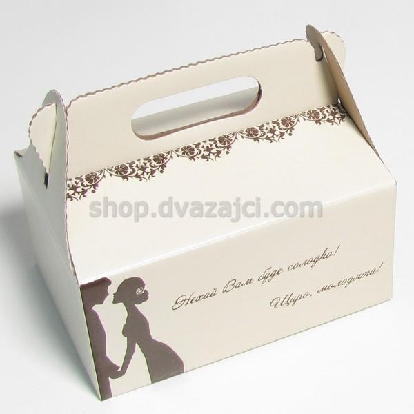 Коробка для пляцок 190х130х90 с ручкой #4