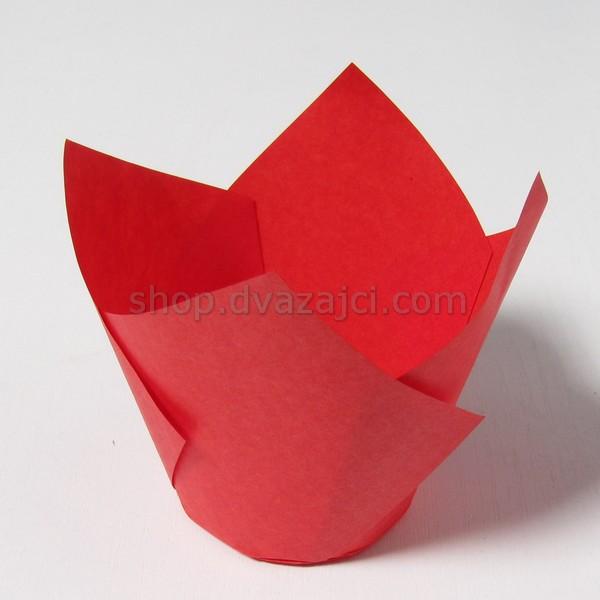 Бумажный стаканчик для кекса Тюльпан красный