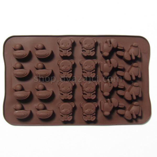 Форма силиконовая для конфет Звери 24 шт