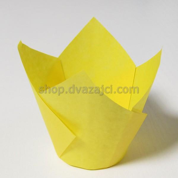 Бумажный стаканчик для кекса Тюльпан 50 желтый 25 штук