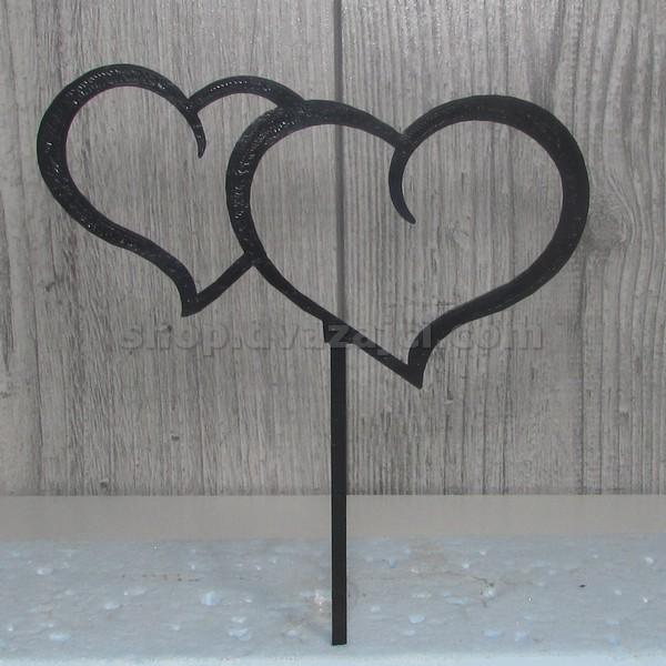 Топпер Сердце двойное черное