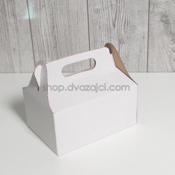 Коробка для пляцок 190х130х90 с ручкой белая