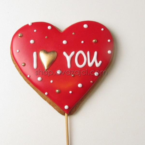 Пряник-топпер Сердце I Love You